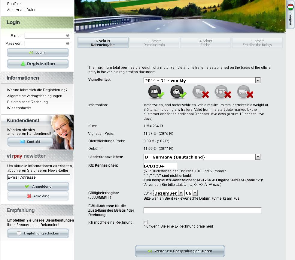 Webseite von virpay.hu zur Bezahlung der Maut