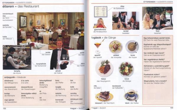 Visuelles Wörterbuch Ungarisch, Seiten 152-153, im Restaurant