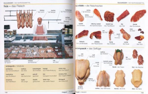 Visuelles Wörterbuch Ungarisch, Seiten 118-119 Fleisch und die Fleischsorten
