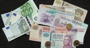 Bargeldtausch, Euro- und Forint-Banknoten