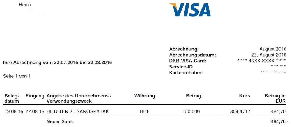 DKB-Abrechnung Forint in Euro