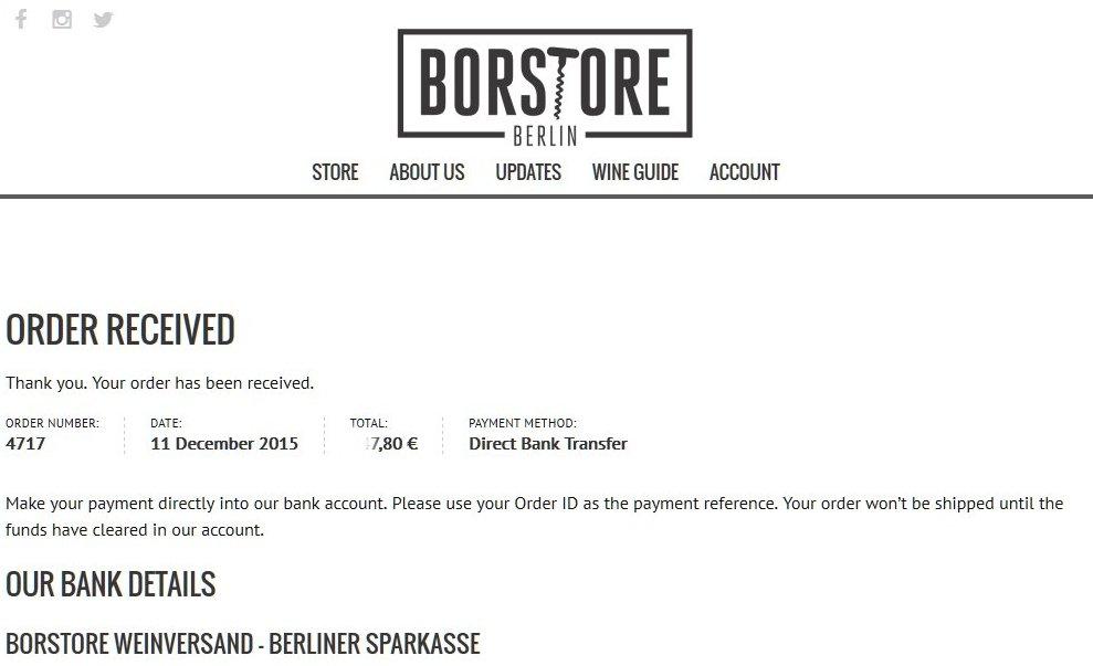 BorStore: Bestellung