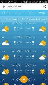 Morecast Städtevergleich unter Android