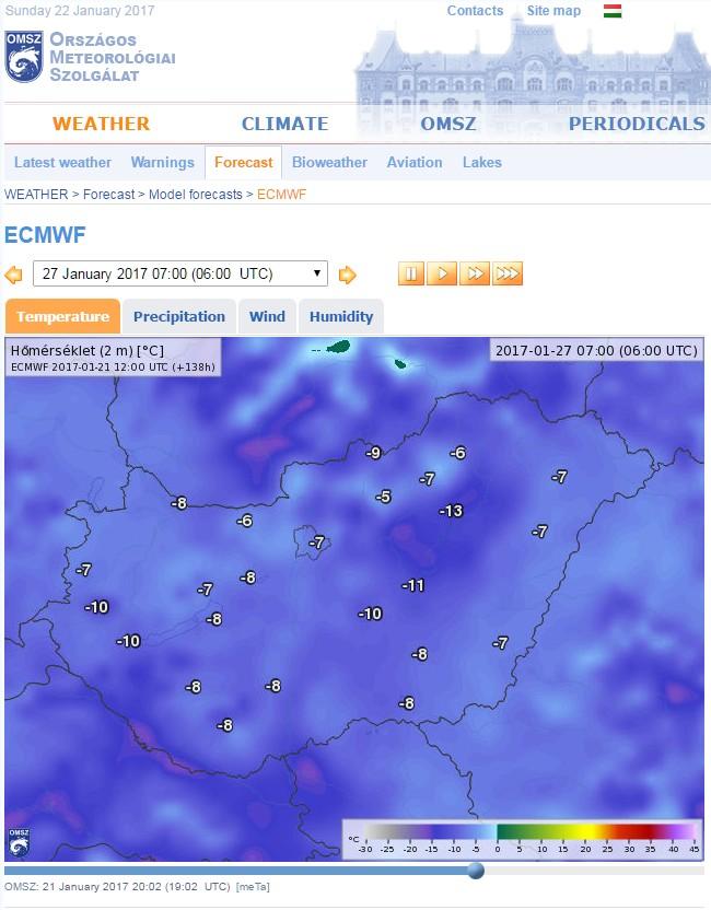 Prognosekarte mit ECMWF-Daten