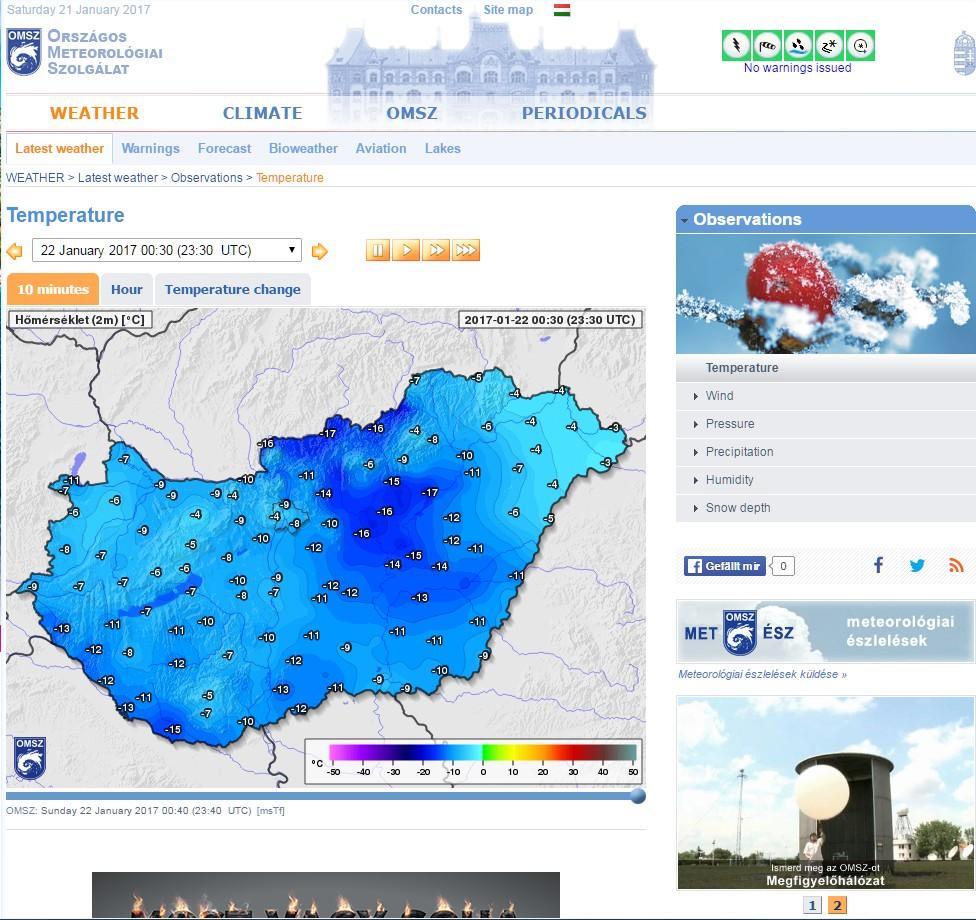 Messwerte vom ungarischen Wetterdienst