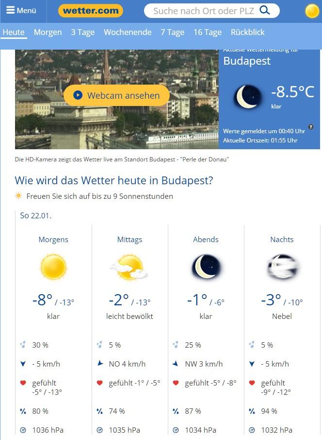 Beispiel der Webseite wetter.com für Budapest