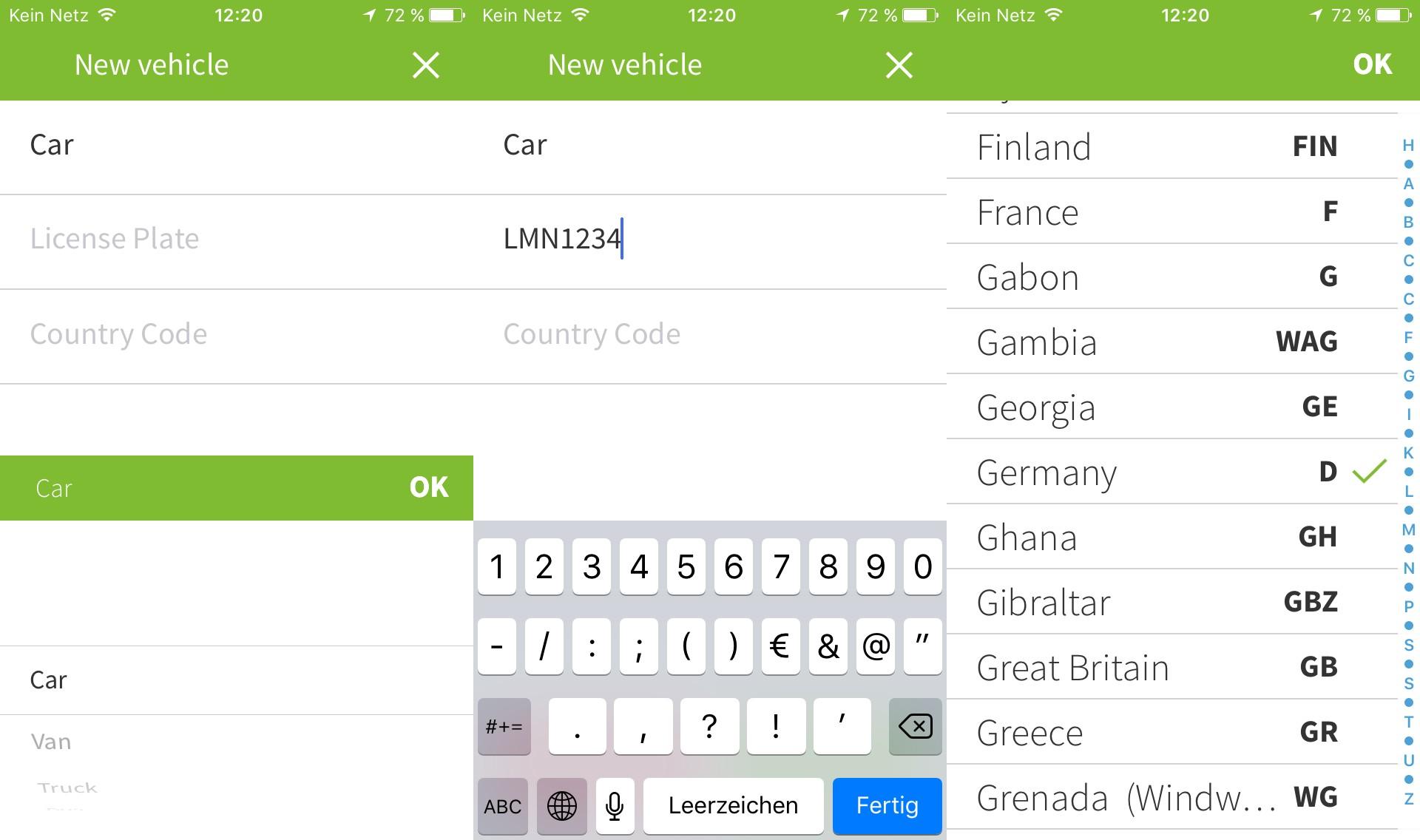 Fahrzeugdaten für die Maut per App