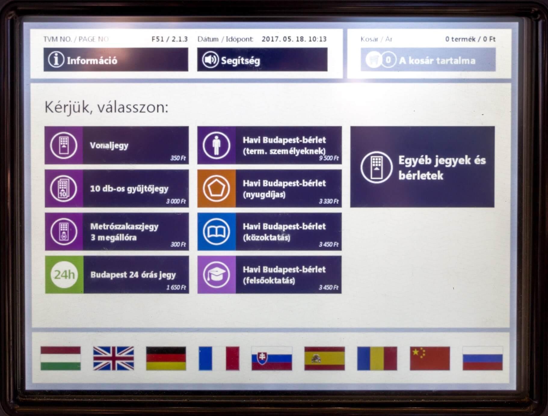 Ticket-Automat auf Ungarisch