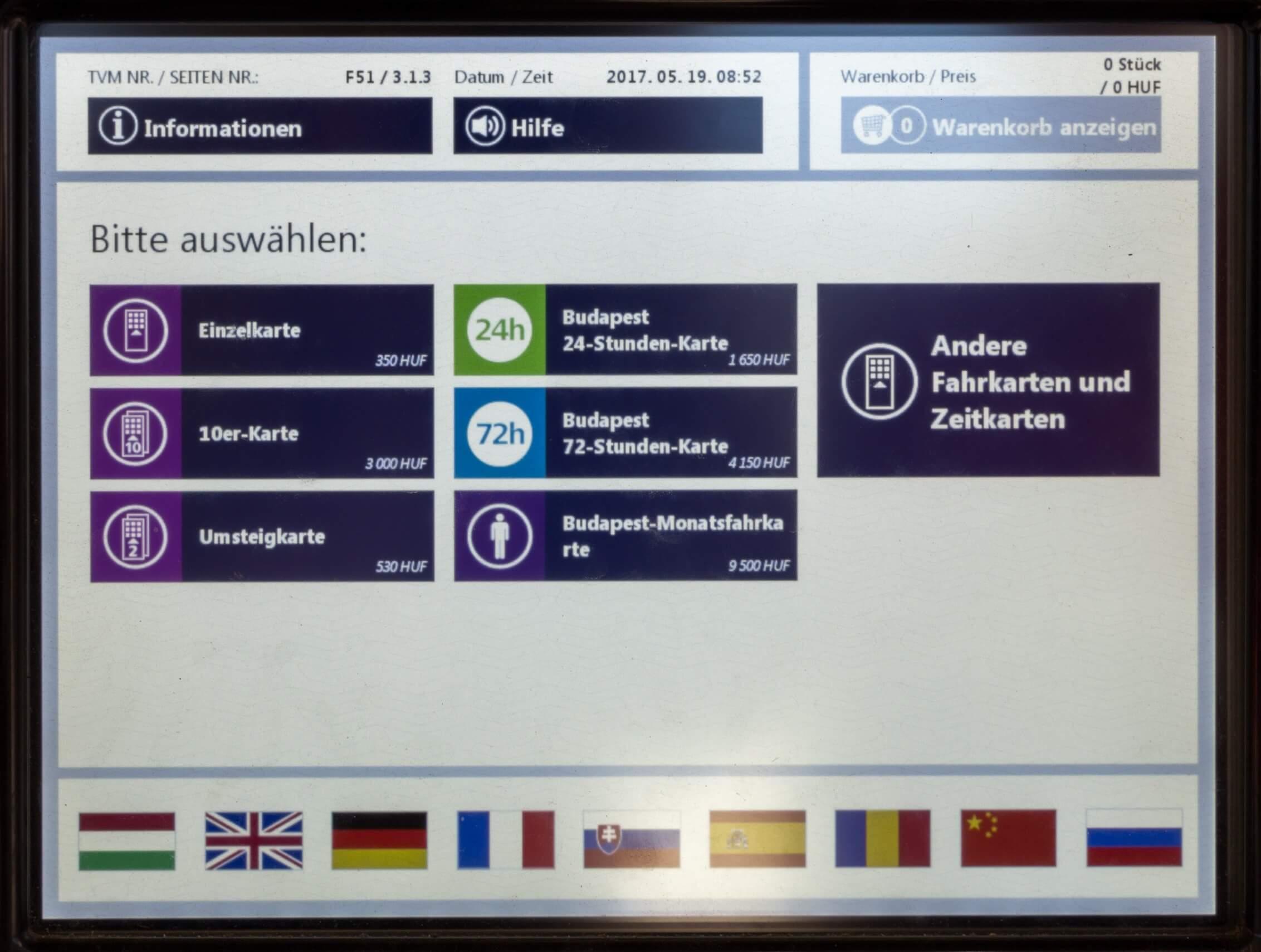 Ticket Budapest auswählen