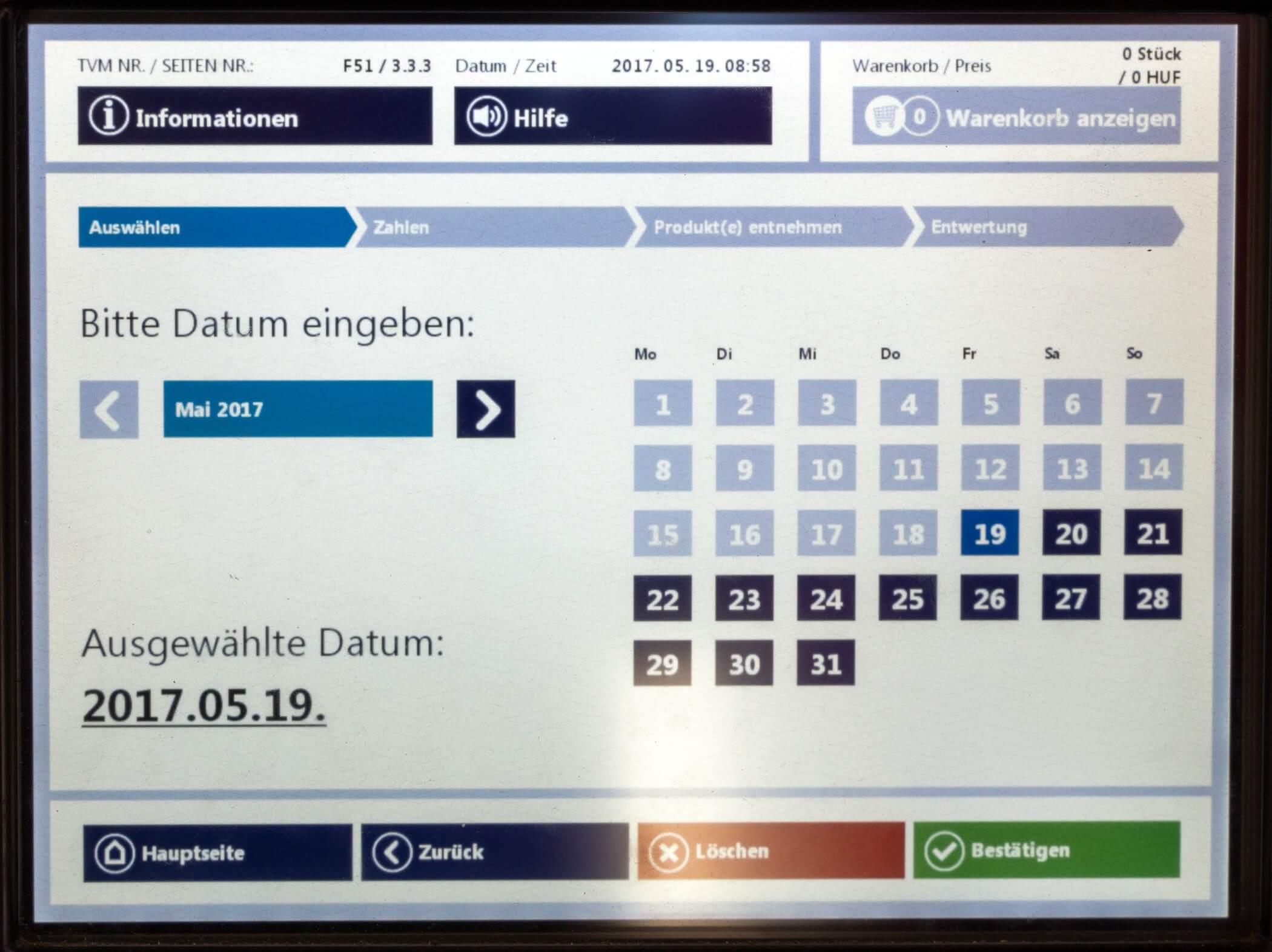 Ticket Budapest, Datum einstellen