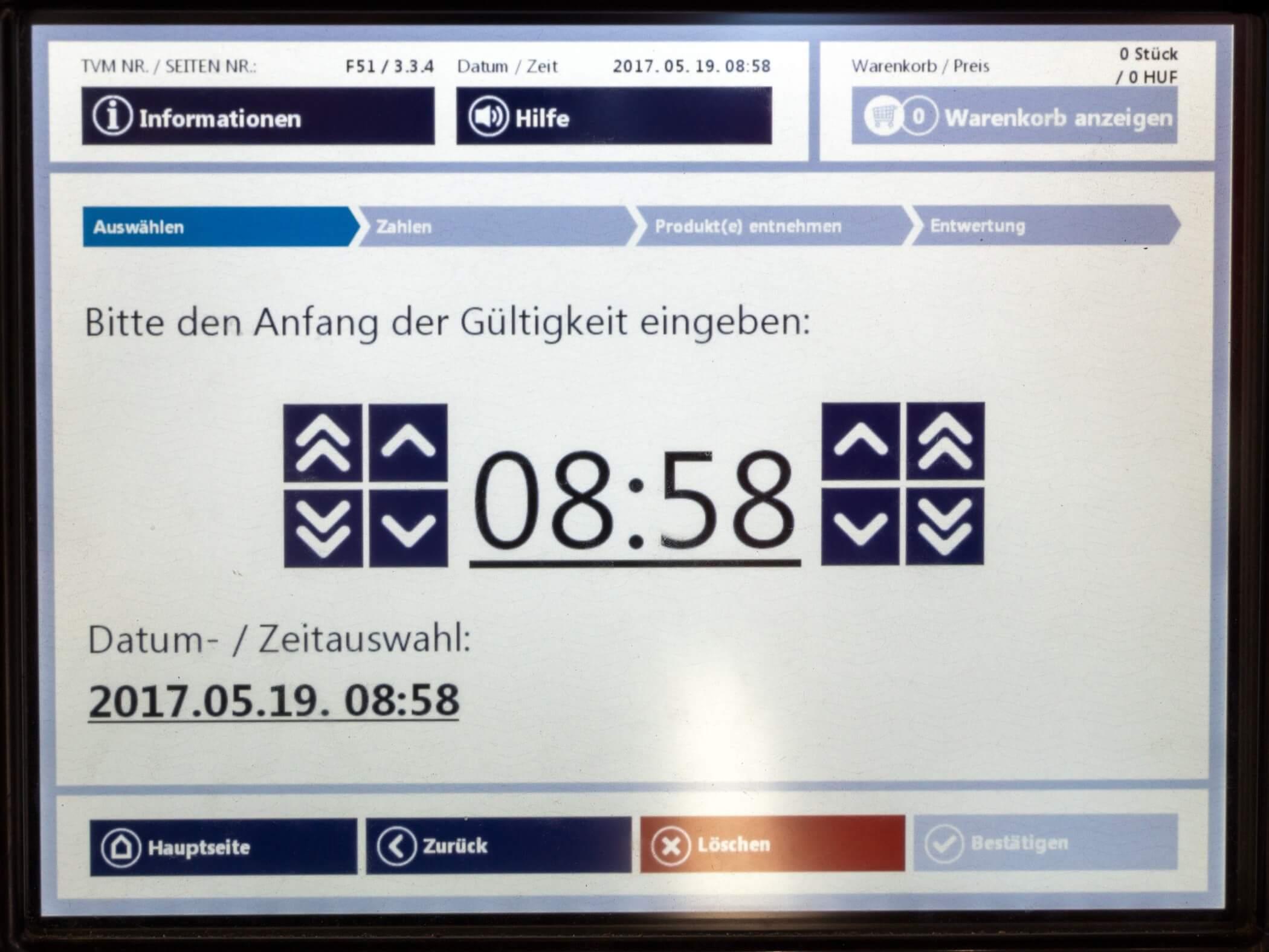 Ticket Budapest, Uhrzeit einstellen