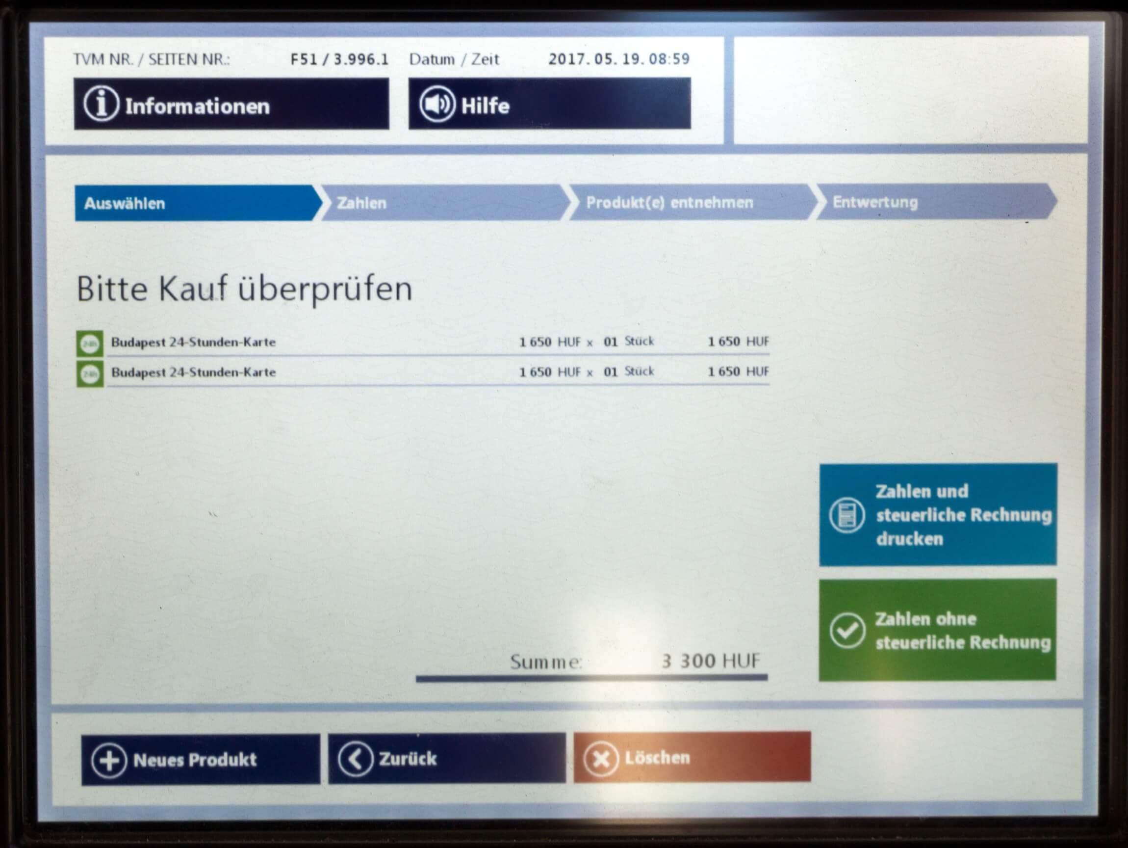 Ticket Budapest, Kauf prüfen