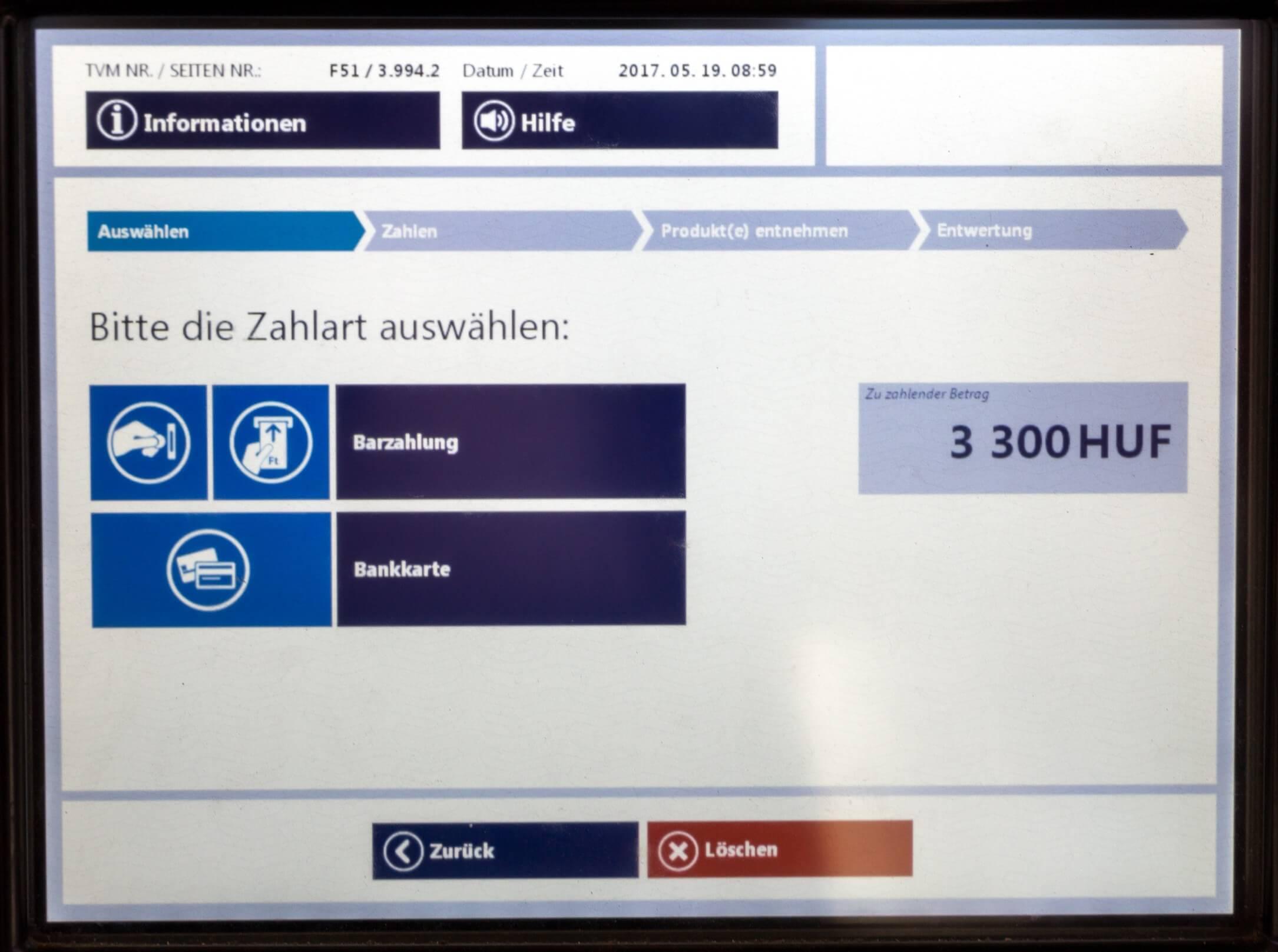 Ticket Budapest, Zahlungsart wählen