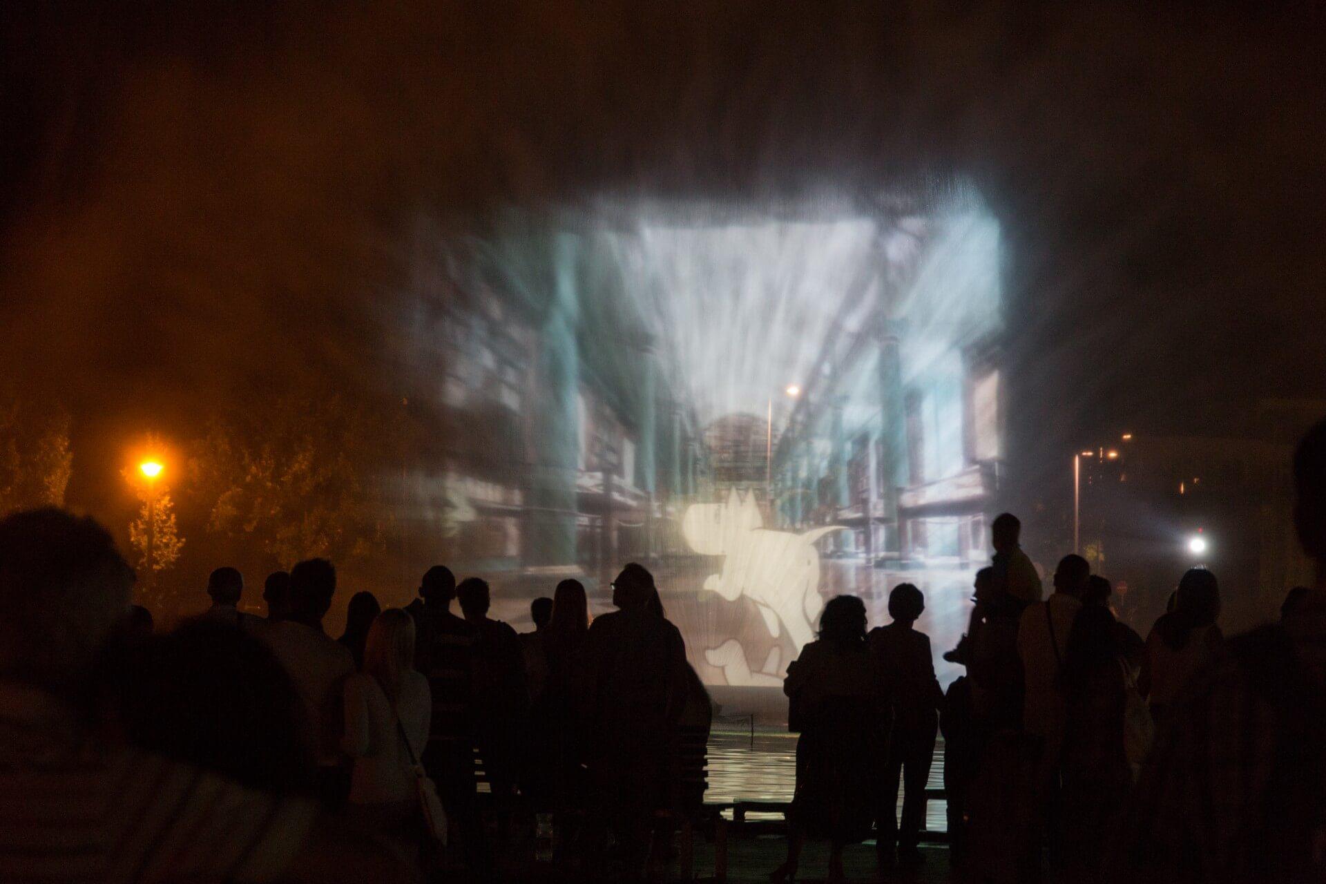 Blumenkarneval Debrecen, Nebeltheater mit Trickfilm