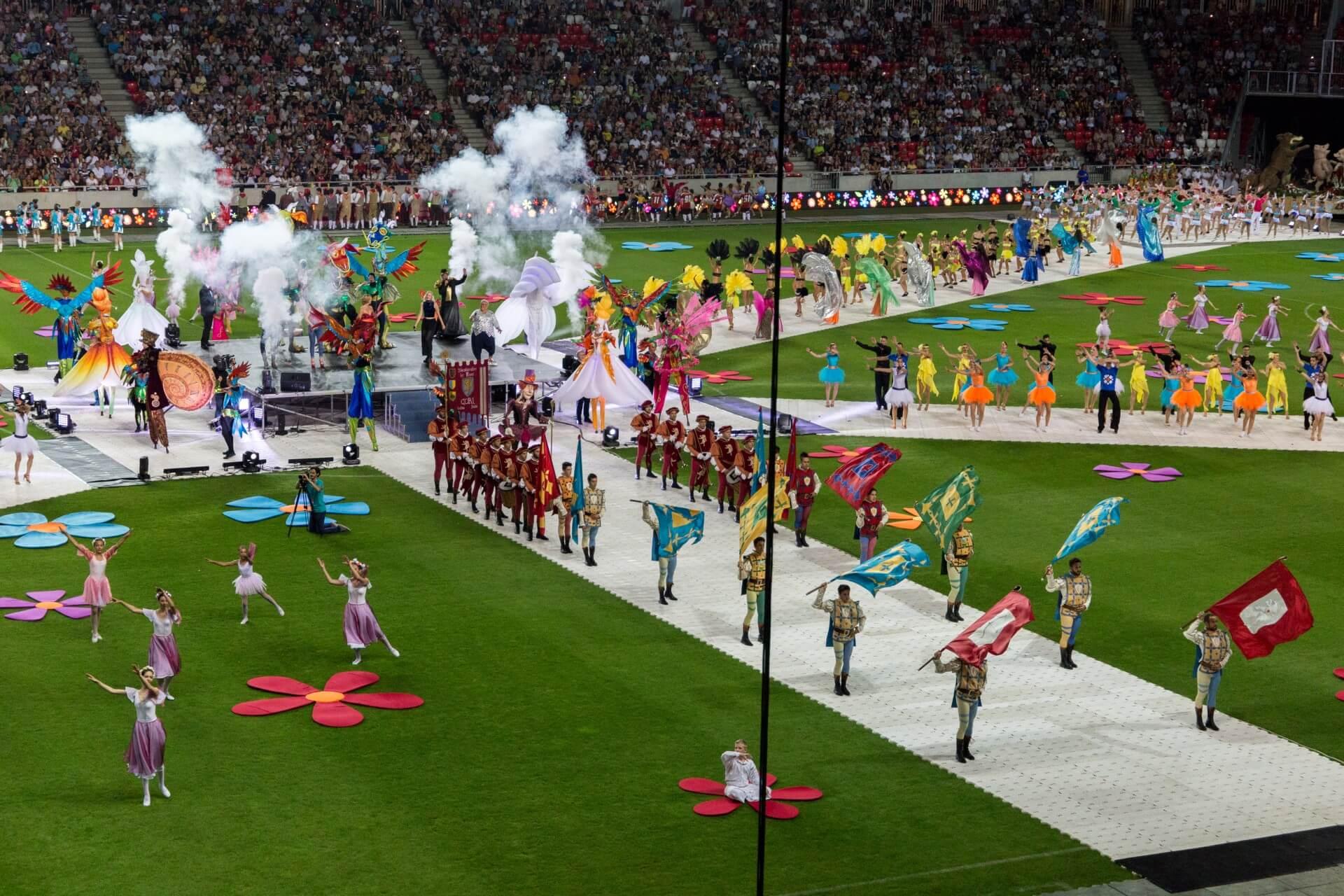 Blumenkarneval Debrecen, Showeffekt im Stadion