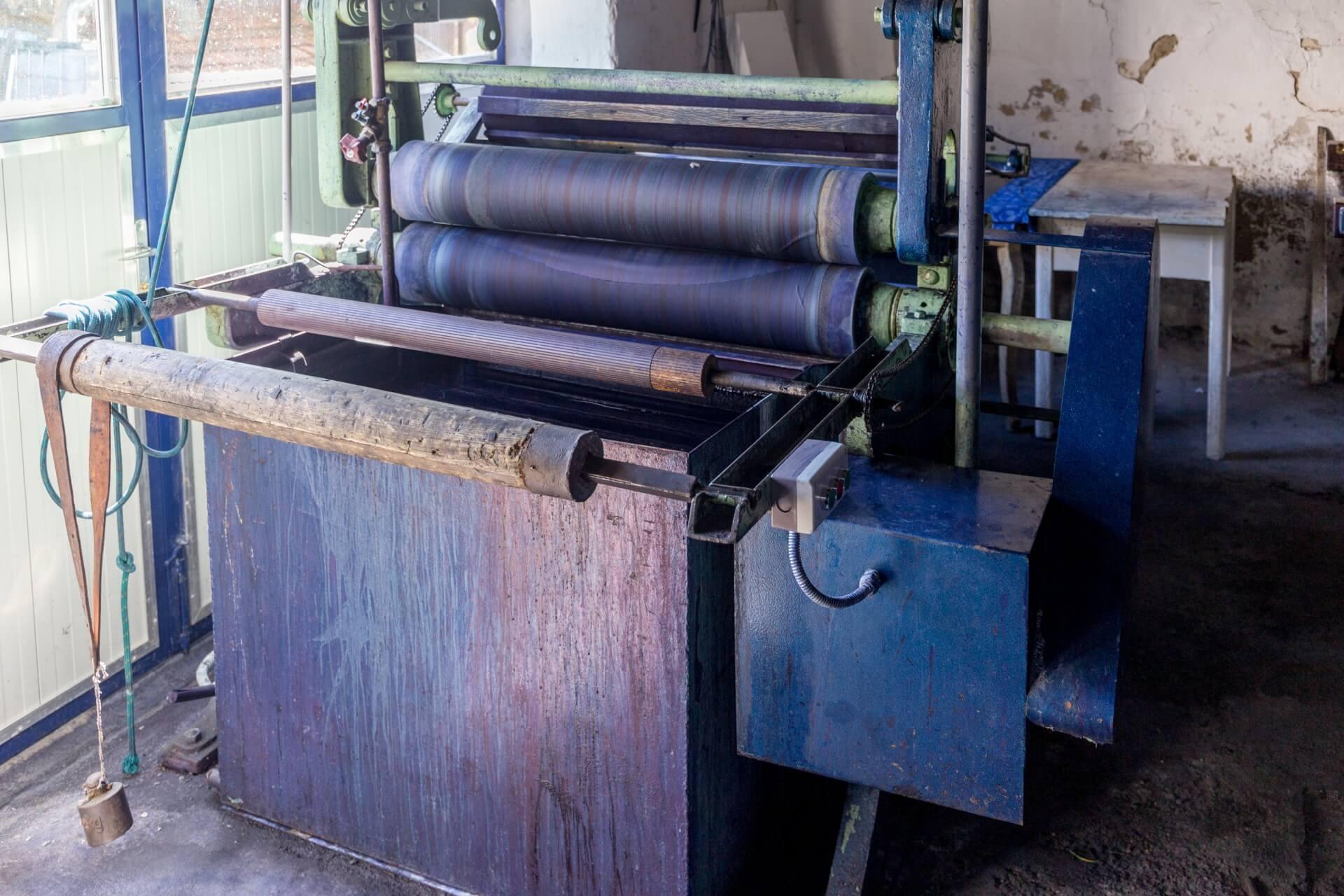 Walzensystem für die Warmfärbung beim Blaufärber in Tolna