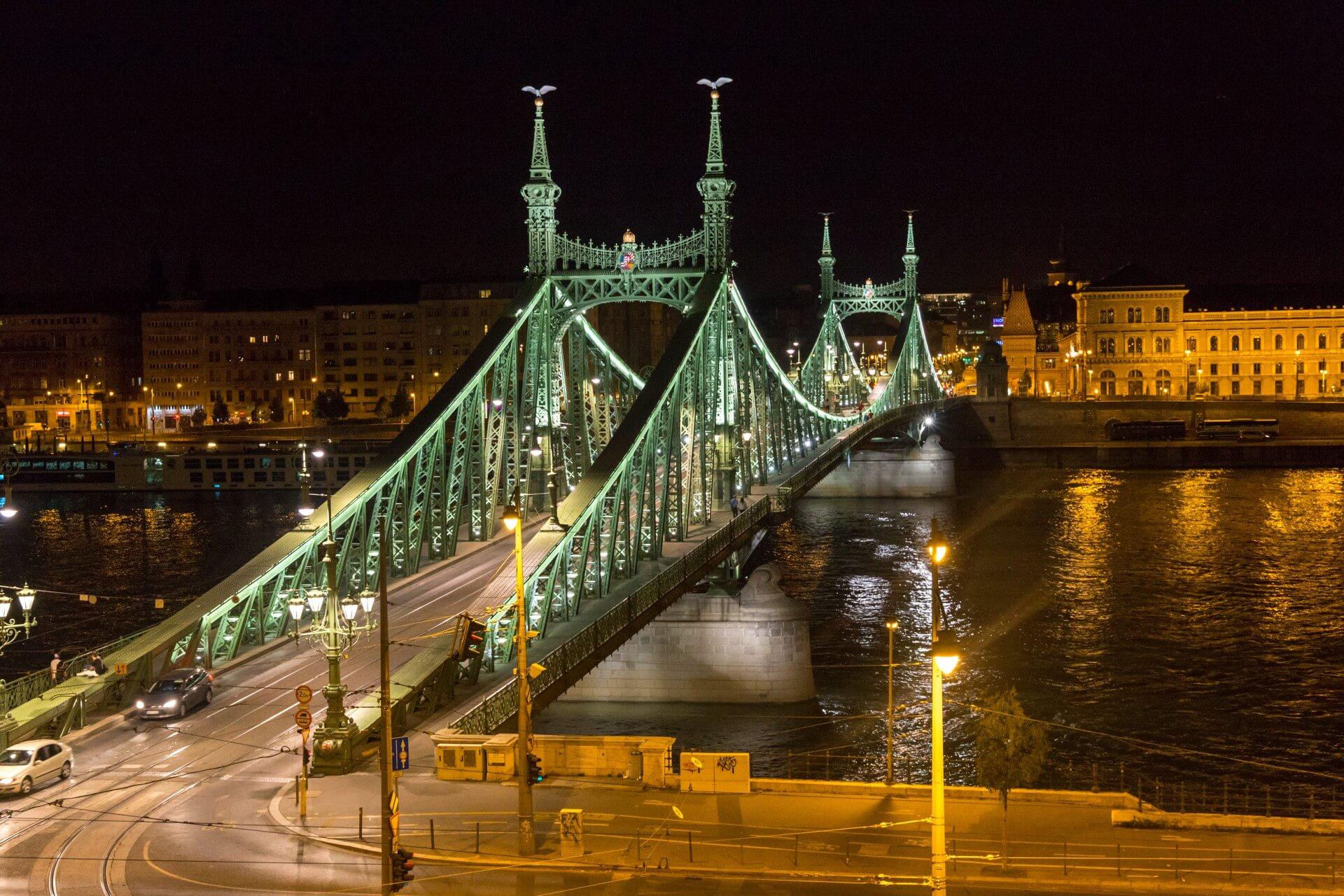Blick zur Freiheitsbrücke vom Zimmer im Hotel Gellért
