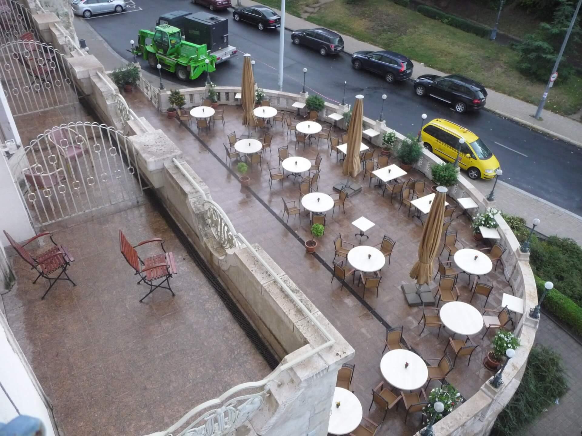 Hotel Gellért Budapest, Blick auf die Terrasse