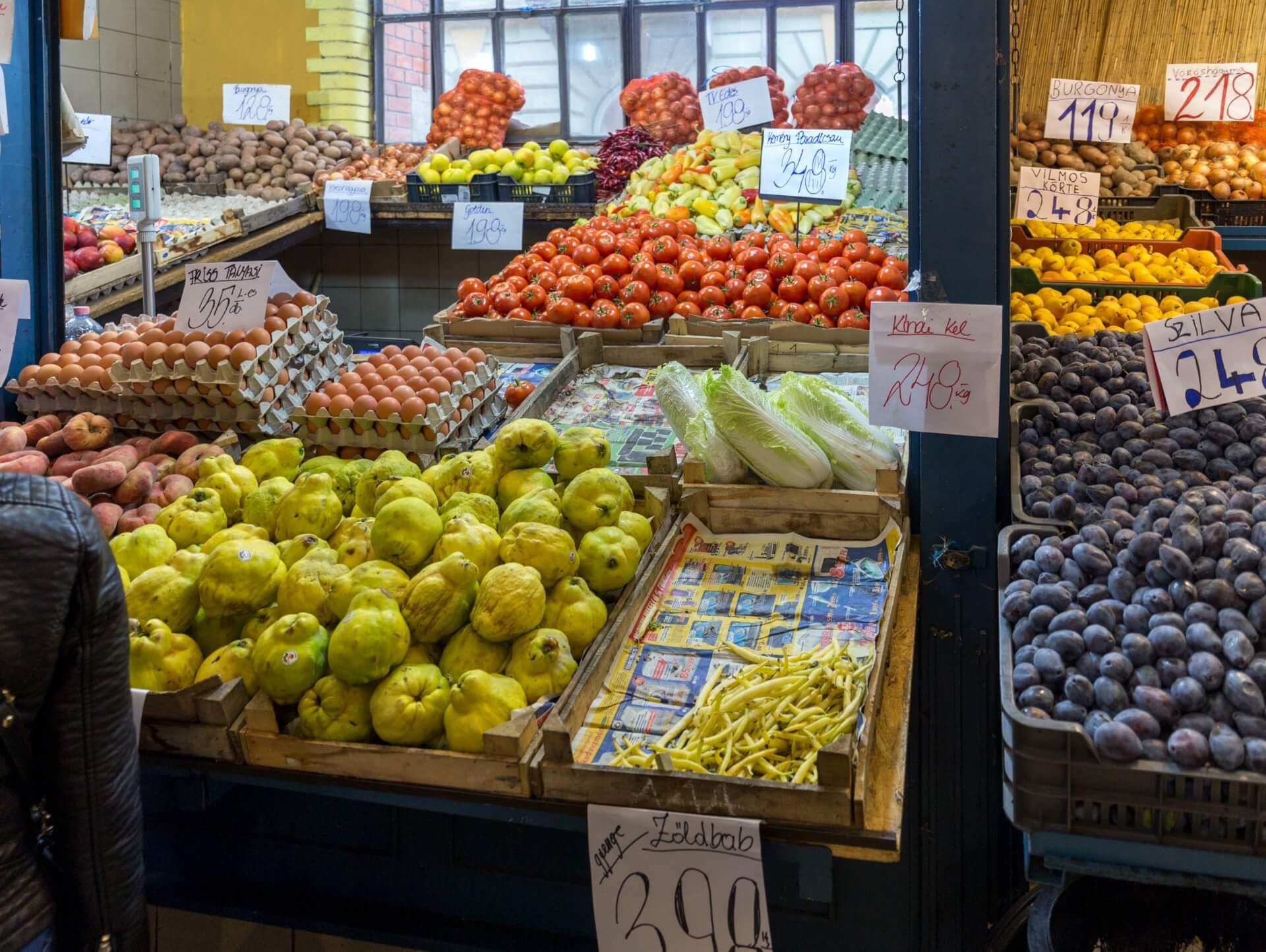 Obst und Gemüse, Markthalle Budapest