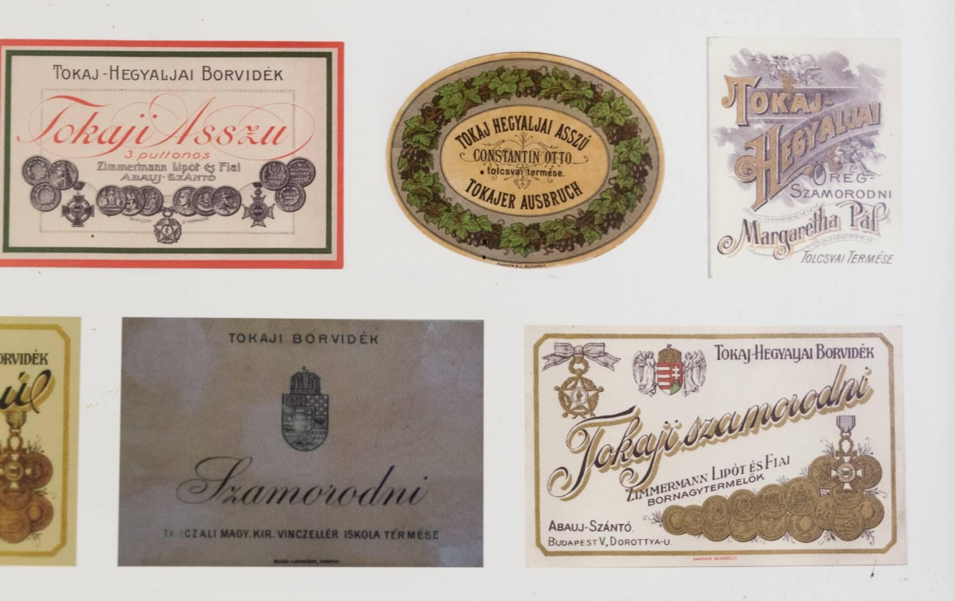 Historischer Tokajer Etiketten, Markthalle Budapest