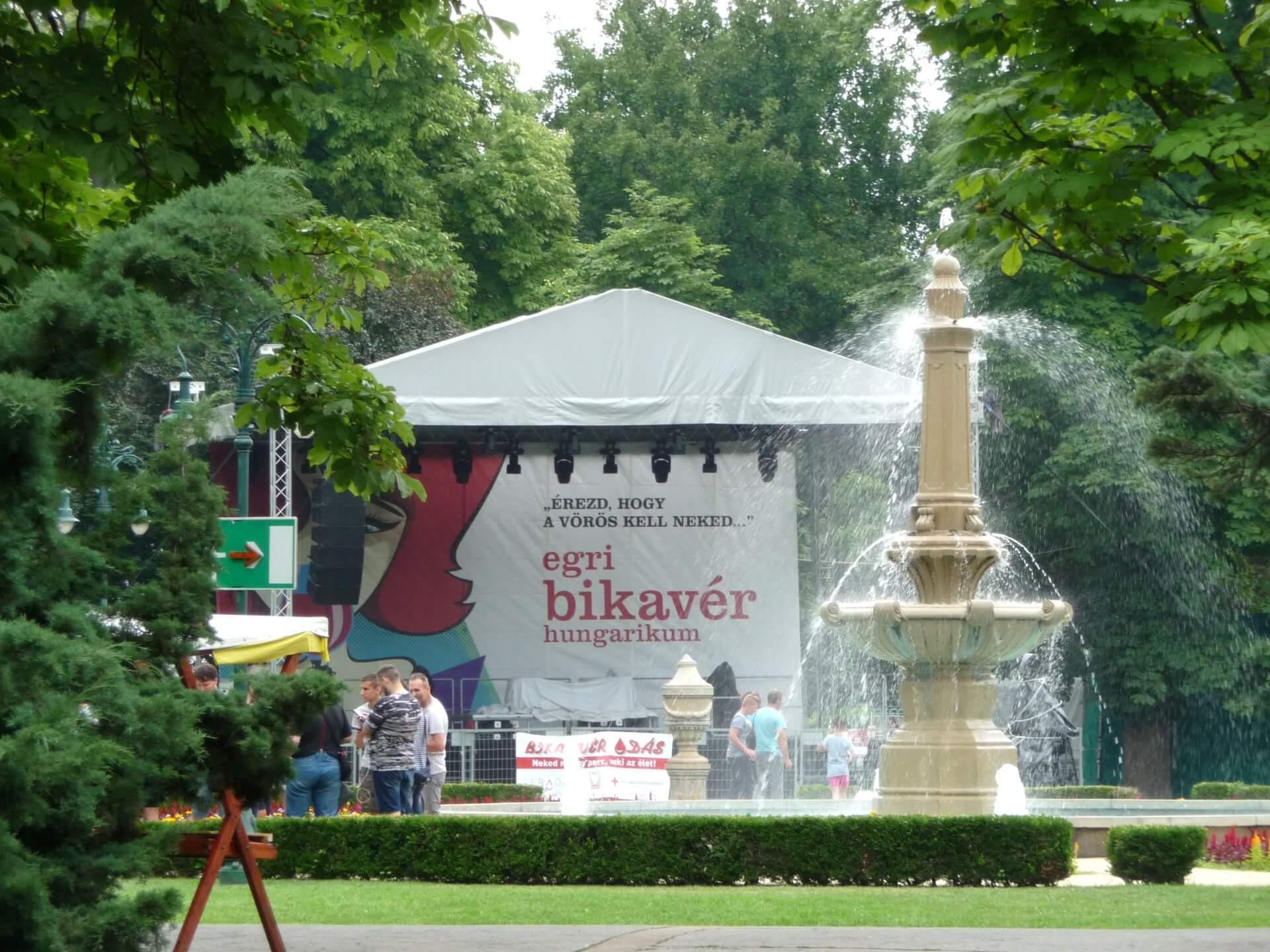 """Bühne """"Egri bikavér"""", Weinfest Eger"""
